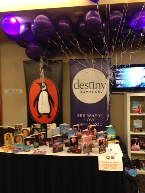 I pinched this picture of the Destiny trade table at the conf from the Destiny facebook page, because I didn't think to take a picture of my own book!  PR fail!